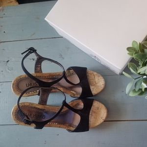 Shoes - Strappy Cork Wedges Black